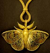 John Paul Miller focuses on beetles, moths and other creatures to inspire his jewelry. This piece is made of 18k gold. John Paul was one of the first jewelrs to shun the use of silver. -MH