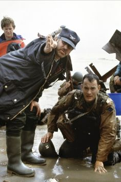 "Steven Spielberg & Tom Hanks On the set of ""Saving Private Ryan"" (1998)"