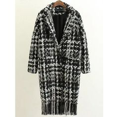 Houndstooth Fringed Woolen Coat ($37) ❤ liked on Polyvore featuring outerwear, coats, hounds tooth coat, woolen coat, fringe coat, wool coat and houndstooth coat