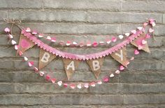 BABY  Burlap and Lace Banner PINK Vintage by Sunshineatheart, $24.99