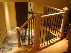 All the parts for this banister were purchased prefab at See Mountain Laurel Handrails http://awoodrailing.com