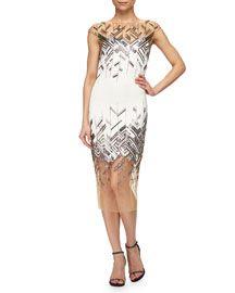 Lela Rose Chevron-Beaded Tulle-Inset Sheath Dress Ivory/Silver