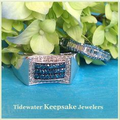 Blue and white diamond men's ring and lady's band. Tidewater Keepsake Jewelers