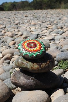 Hand Painted River Stone Orange and Green Mandala by ArtByEvaMarie