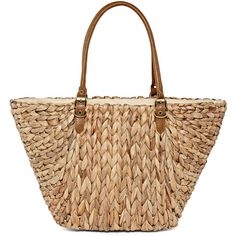 Straw Studios Water Hyacinth Contrast Tote (72 CAD) ❤ liked on Polyvore featuring bags, handbags, tote bags, purses, straw handbags, cell phone purse, beige handbags, zipper tote and straw purses