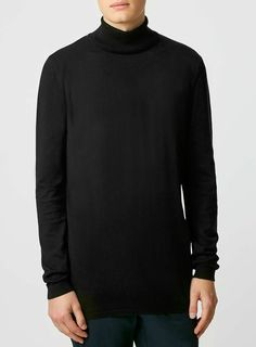 Black Longline Roll Neck Jumper