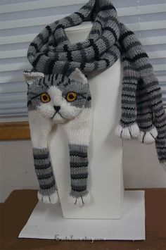 Tabby Gray Cat Scarf Knitting Scarf Gray Scarf Cowl Scarf Long Scarf knit, winter scarf, Christmas Gift, Multicolor Scarf beautiful soft and warm scarf. knitting from pure wool very pleasant for skin Perfect everybody who love cat I can knitt. Cat Scarf, Hand Knit Scarf, Grey Scarf, Long Scarf, Animal Knitting Patterns, Knit Patterns, Crochet Scarves, Knit Crochet, Yarn Sizes