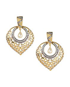 Golden Earrings with Cutwork Patterns - Buy Nidhaan Jewelry Online   Exclusively.in #Exclusivelyin #IndianEthnicWear #IndianWear #Fashion #Jewellery
