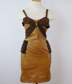 Just Reduced Vintage CUSTOM Made LEATHER GAULTIER Inspired Leather Corset Fetish Dress Stunning Size 6