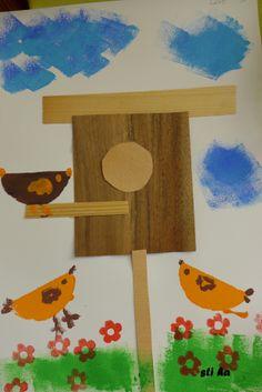 * Vogels & Vogelhuisje! Spring Art, Spring Crafts, Animal Crafts, Animal House, Things To Do, Nice Things, Little People, Preschool, Nursery