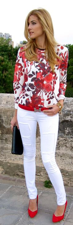 Red Floral And White Outfit