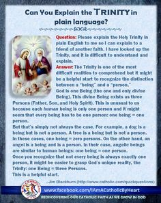 "The Trinity is ""user-friendly"" language Catholic Religious Education, Catholic Doctrine, Catholic Answers, Catholic Religion, Catholic Kids, Catholic Prayers, Catholic Saints, Roman Catholic, Trinity Catholic"