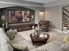 Theatre Room  |  Warm Carpet with gray walls