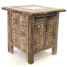 """Hand Carved 18"""" Square Table Moroccan Style Carving Inner Storage Compartment CE Hand Made Items http://www.amazon.co.uk/dp/B004JUEX2I/ref=cm_sw_r_pi_dp_kKReub0HEMPQN"""