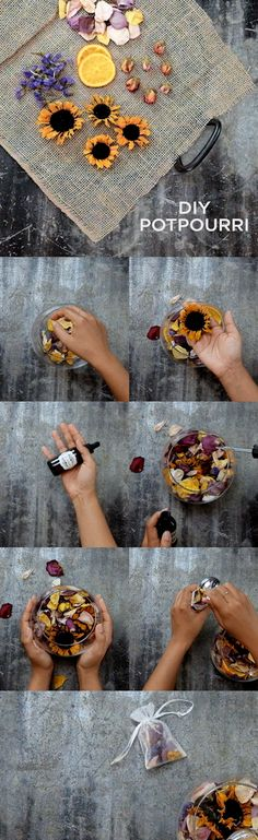 Turn your dried Bouq flowers into pretty, scented potpourri! Follow our four simple steps to do it yourself! #DIY