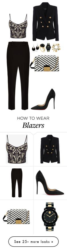 """Untitled #4006"" by fashionhypedaily on Polyvore featuring The Row, Alexander McQueen, Balmain, Christian Louboutin, Mulberry, Chanel, Movado, Monarc Jewellery and John Hardy"