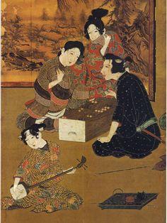 Ban-sugoroku, Japanese Backgammon, detail from Hikone Byōbu, Edo period,17th century