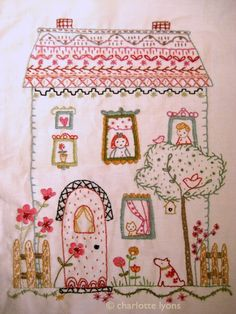 Sweet little embroidered house from House Wren Studio