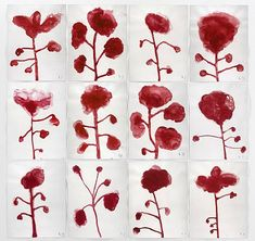"SHOOT THAT TIGER: Louise Bourgeois ""Les Fleurs"" 2009 Gouache on paper 23 1/2"" x 18"""