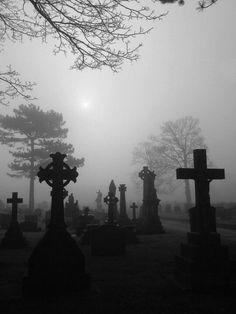 Mist shrouded cemetery