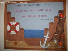 I will make you fishers of men - don't do a bulletin board, make . - I will make you fishers of men – don't do a bulletin board, make … - Nautical Bulletin Boards, Bible Bulletin Boards, Christian Bulletin Boards, Summer Bulletin Boards, Preschool Bulletin Boards, Sunday School Rooms, Sunday School Classroom, Sunday School Crafts, Kindergarten Classroom