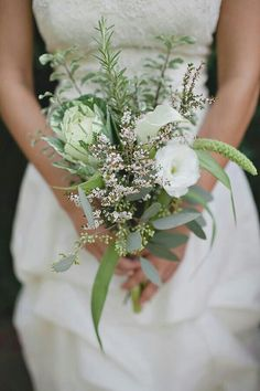 """Organic"" Wedding Bouquet With: White Lisianthus, Calla Lily, Green Kale & Several Varieties Of Greenery, Herbs & Foliage"