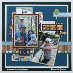 Fun.Wander. - My Creative Scrapbook- September 2016 Main Kit. America Crafts Shimelle- Go Now Go Collection  Echo Park- Fall is In the Air  Thickers- Let's Go  Heidi Swapp- Wood Veneer