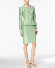 Le Suit Shawl-Collar Shimmer Skirt Suit Closet Collection, Urban Dresses, Working Woman, Work Attire, Work Wear, Peplum Dress, Dresses For Work, Shawl, Blazer