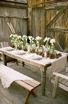 Gallery: Rustic wedding table ideas with burlap, pinecones and simple glass vases with a few flowers - Deer Pearl Flowers