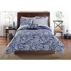 Mainstays Jaipur Paisley Bed in a Bag Set, Blue Ordered this bed in a bag for Colleen's bedroom comes with sheets/sham and a dec pillow, navy blue dustruffle. Should be pretty against the pale blue walls in her room. Paisley Bedding, Blue Bedding, King Sheets, Bed Sheets, Bed In A Bag, King Comforter Sets, Luxury Bedding Sets, Dream Home Design, Bed Design