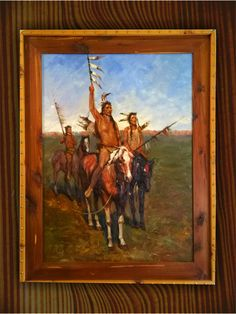 WANKAN WARRIORS! ORIGINAL OIL PAINTING ON CANVAS WITH HANDMADE RUSTIC WOOD FRAME. This is an awesome Native American theme work I created from the influence of Russel, Howell, Remington and others. This Western theme piece displays a party searching for opposing tribes, offering a greeting or subtle stand off. A great addition to a Native American theme, Western room or log home, or rustic decor, the piece features a Gallery Investment Value $7500! By ordering directly from me - the…