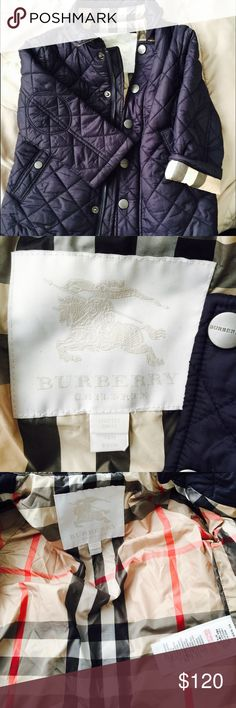 Burberry Light Down Quilted Jacket Gorgeous down quilted Puffer jacket. Lightweight yet warm. Perfect for late fall and early winter or spring. Hardly worn. Like New. Snap closures and zipper. Machine washable. Did I say gorgeous. Unisex. For my son up to 18 mos. Burberry Jackets & Coats Puffers