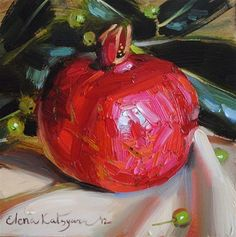 """Bright Pomegranate"" - © Elena Katsyura love the texture of the paint coming though the image."