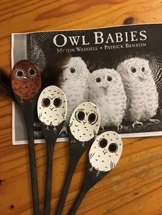 Owl Babies story spoons Autumn Eyfs Activities, Baby Learning Activities, Nursery Activities, Infant Activities, Book Activities, Owl Babies Book, Baby Owls, Evans Craft, Story Sack