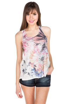 Floral Sublimation High-Low Tank