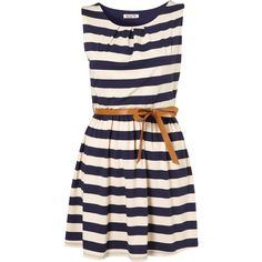 Stripe Belted Dress by Wal G** (840 HNL) ❤ liked on Polyvore featuring dresses, vestidos, robes, topshop, blue, day summer dresses, summer dresses, navy blue jersey, navy blue striped dress and navy striped dress