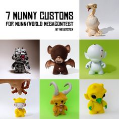 I love the one with the horns! - 7 Munny Customs by NEVERCREW, via Behance