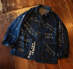 Vintage headlight Jacket from 1930s long john blog jeans denim blue rigid authentic usa  (2)