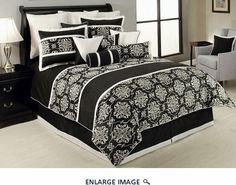 10 Piece Queen Dorian Black/White Comforter Set