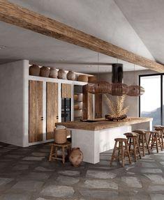 Design My Kitchen, Home Decor Kitchen, Home Kitchens, Studio Kitchen, Rustic Kitchen, Bathroom Interior Design, Kitchen Interior, Brown House, Italian Home