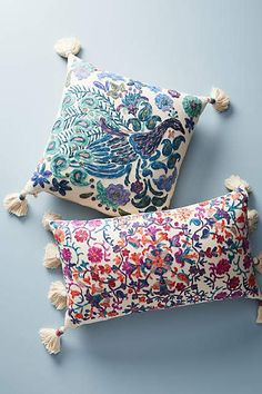 Anthropologie Embroidered Melika Pillow