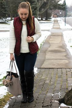 CHECK VEST // Ivory Knit Sweater // Red Check Vest // Dark Skinny Jeans // Black OTK Boots // Camel Tote // Gold Chain   On Pearls and Polkadots...