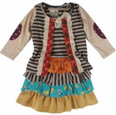 8279 Sado Forest Friends Skirt, Top, and Jacket 3pc Set