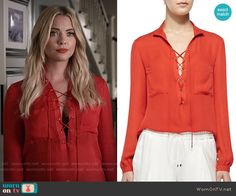 Hanna's red lace-up blouse on Pretty Little Liars.  Outfit Details: https://wornontv.net/56043/ #PLL