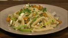 the chew | Recipe  | Mario Batali's Pici With Butternut Squash (add ricotta salata and grapa/sider)