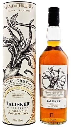 Talisker Reserve Game of Thrones House Greyjoy We Do Not Sow Whiskey Brands, Cigars And Whiskey, Scotch Whiskey, Bourbon, Talisker Whisky, Whiskey Lullaby, Whisky Club, Peach Drinks, Drinking Games For Parties