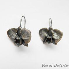 Kolczyki srebrne - Czarna orchidea - Sklep internetowy z biżuterią srebrną