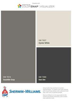 Light color would be whole house. Medium gray would be trim. And dark color would be doors and shutters. Exterior Color Schemes, Paint Color Schemes, Exterior Paint Colors For House, Grey Exterior, Interior Paint Colors, Paint Colors For Home, Outside Paint, Pintura Exterior, Outdoor Paint