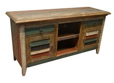 Designed with function in mind this TV stand has 2 open compartments for cable boxes, game systems, speakers, etc. 2 compartments behind closed doors for storin Tv Media Stands, Shutter Doors, Reclaimed Wood Furniture, Closed Doors, Accent Furniture, Shutters, Painting On Wood, End Tables, Dining Room