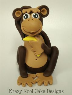 Monkey Cake Topper by KrazyKoolCakeDesigns on Etsy, $40.00